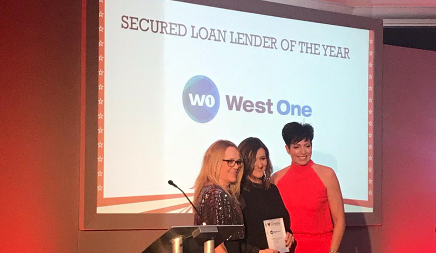 West One Loans wins Secured Loan Lender of the Year award at Crystal Specialist Finance's 2020 Ball.